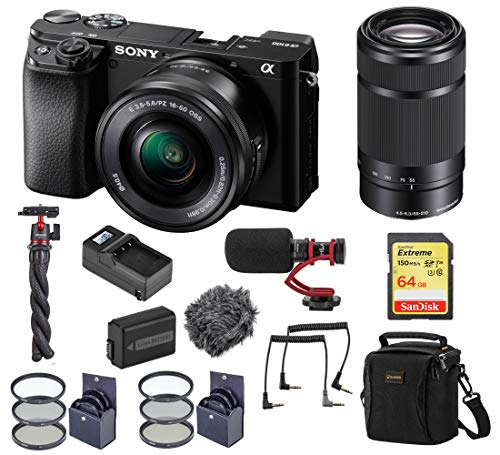 Sony Alpha A6100 Mirrorless Digital Camera, with 16-50mm and 55-210mm Lens (Black) Audio Bundle with H&A Mic, Tripod, Bag, 64GB SD Card, Filter Kit, Battery, Charger