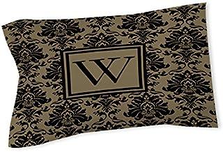 وسادة شام من Manual Woodworkers & Weavers مطبوع عليها حرف W، باللون الأسود والذهبي الدمشقي