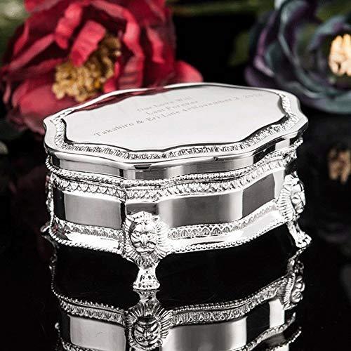 Caja antigua Chrome joyería Cofre del Tesoro, del caso del organizador anillo de la vendimia del metal de joyería cajas de almacenamiento, Titular / anillo pendientes / collar Decoración Adornos, rega