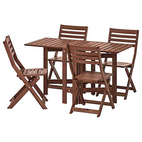 Tok Mark Traders ÄPPLARÖ Stół + 4 składane krzesła, na zewnątrz, brązowe, barwione wytrzymałe i łatwe w pielęgnacji. Zestawy jadalniane. Meble ogrodowe meble ogrodowe. Produkty na świeżym powietrzu. Przyjazne dla środowiska.