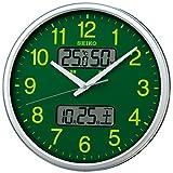 セイコー クロック 掛け時計 電波 アナログ 集光樹脂文字板 カレンダー 温度 湿度 表示 銀色 メタリック KX235H SEIKO