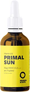 Vitamin D Liquid PRIMAL SUN (1000 I.E. per Drop | dissolved in coconut oil | Certified Vitamin D3) - 50ml