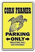 Corn Er Tractor Produce Wheat 注意看板メタル安全標識注意マー表示パネル金属板のブリキ看板情報サイン