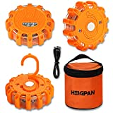 3 Pack LED Road Flares Emergency Lights Roadside Warning Safety Emergency Disc Beacon Flashing Flare Kit for Car Truck Boat with Magnetic Base, Hook Carrying Bag 9 Flash Modes(Batteries Not Included)