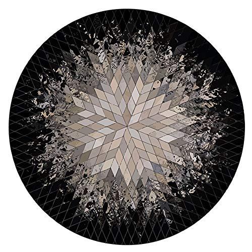 Garderobe Mats eenvoudig zwart-wit Grijs Modern Abstract American Style Living Room Tapijt Ronde Tapijt-4.7 (Size : 160 * 160CM)