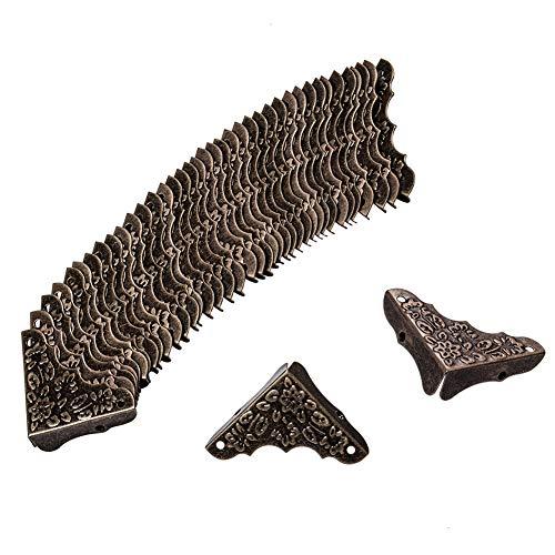 Cubierta de borde de caja INCREWAY, 20 piezas Protector de esquinas de muebles de metal Triángulo decorativo antiguo Guardias talladas con tornillos para estuche Mesa de escritorio Caja de madera