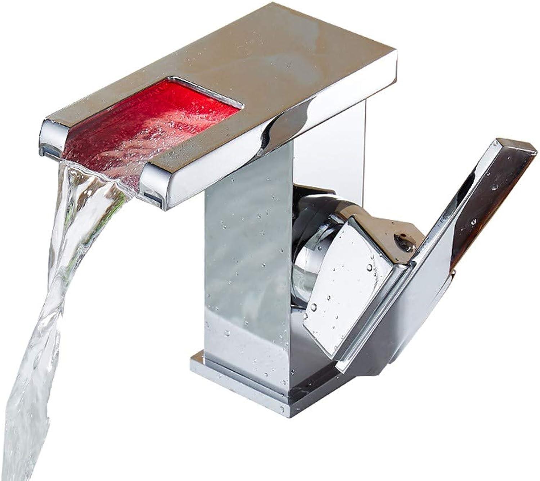 Waschbecken Wasserhahn, Ausgewhlte LED Licht Becken Wasserhahn Mit Temperatursensor Wasserkraft Wasserfall Becken Mischbatterie Messing Fitting (gre   H12.5cm)