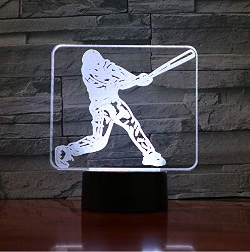 Honkbalspeler Action Figure 3D LED nachtlampje USB kinderen cadeau baby nachtlampje sport bureaulamp nachtkastje