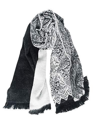 DAMILY Femmes Echarpes Hiver Grande Pashmina en Cachemire Motif Dentelle Florale Tendance Châle Etole Noir Blanc Pour Robes de soirée / Cape de mariée / Voyage