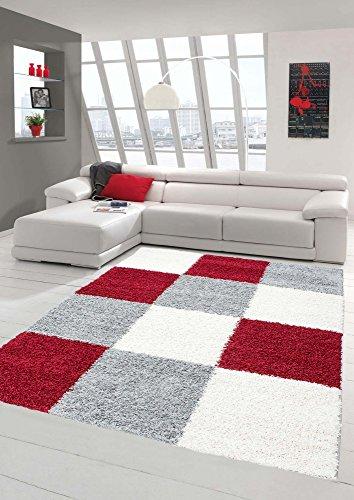 Mérinos Shaggy Tapis Shaggy Pile Longue Tapis Design Gris Crème Rouge Größe 160x230 cm