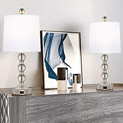Oneach Modern USB Table Lamps Set of 2 for Living Room Bedroom Stacked Crystal Ball Table Lamp with White Drum Shade Accent Bedside Lamps