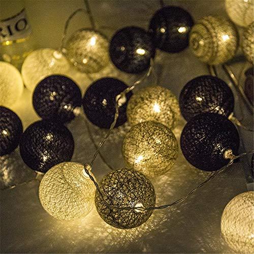 Morbuy Guirlande Lumineuse Boule, Lumineuse Cosy Boules Coton 20 LED Batterie Éclairage Matériau Durable en PVC 6cm Balle Ficelle Lumière Couleur Décoration pour La Saint Valentin Noël Fêtes