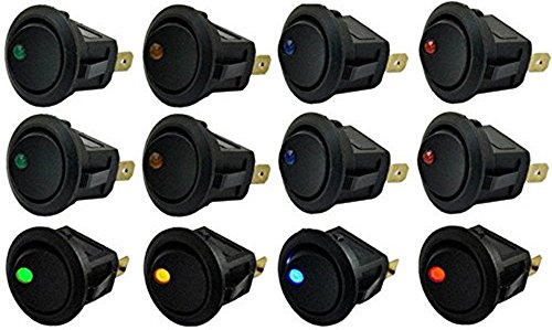 yueton 12pcs Car Truck Rocker Round Toggle LED Switch On-Off Control, Blue, Green, Yellow, Red