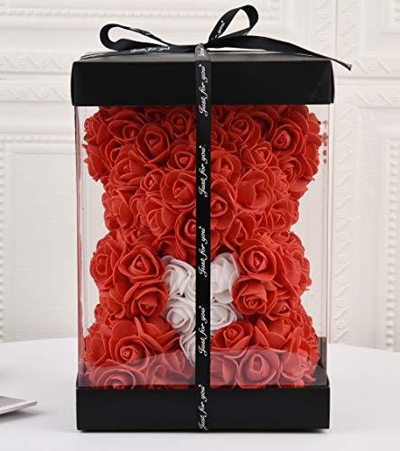Fdjhd Rosen-Bär – Rosen-Teddybär – Blumenbär, perfekt für Jahrestag, Rosenbär, für Mütter – inklusive transparenter Geschenkbox 25,4 cm hoch - über 250+ Blumen. rot
