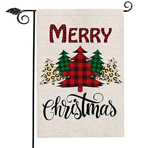 Merry Christmas Garden Flag,12 x 18 Inch Buffalo Plaid Christmas Decorations Double-Sided Christmas Yard Flag for House Outdoor Decor