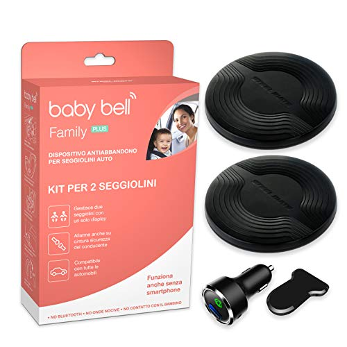 dispositivo anti abbandono omologato seggiolino auto Kit 2 seggiolini | Dispositivo anti abbandono Steelmate Baby Bell Family PLUS | Universale 100% auto | Funziona anche senza smartphone