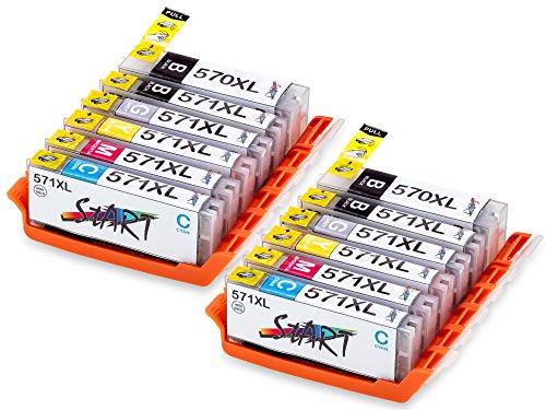 Start - 12 XL Compatible Chip Cartucce per Canon PGI-570 BK XL Nero, CLI-571BK XL Foto Nero, CLI-571C XL Ciano, CLI-571M XL Magenta, CLI-571Y XL Giallo, CLI-571GY XL Grigio