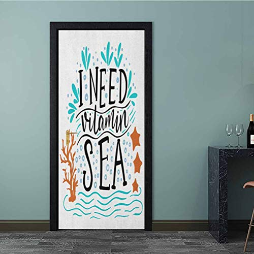 Homesonne 3D Wall Sticker I Need Vitamin Sea Inspirational Quote Hand Drawn with Coral Waves Starfishes Bubbles Peel and Stick Vinyl Door Mural Decals for Bathroom Door Multicolor 77x200 CM