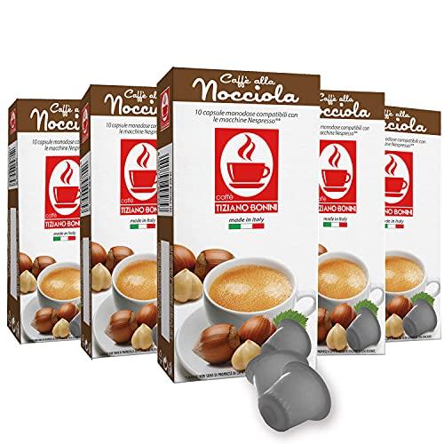 Caffe Bonini Hazelnut Espresso Pods For Nespresso Machine, Caffè alla Nocciola flavored espresso, Hazelnut Nespresso Compatible Capsules For OriginalLine Machines, 50 Count