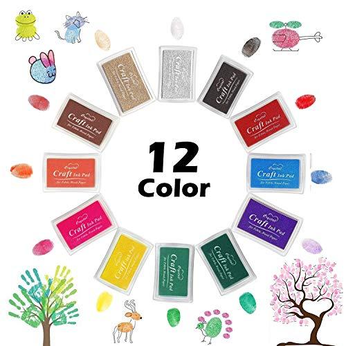 Mture Almohadillas de Tinta Para Niños, 12 Colores para Utilizar con Los Dedos, para Manualidades, Sellos de Caucho, Tarjetas