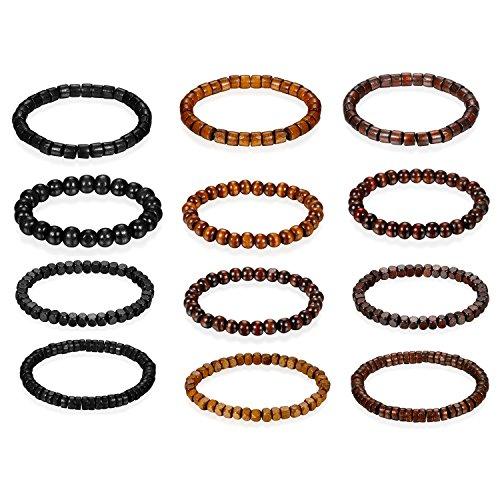 Flongo 12 pulseras unisex para hombre y mujer, con cuentas de madera y eslabones budistas de mantra elástica