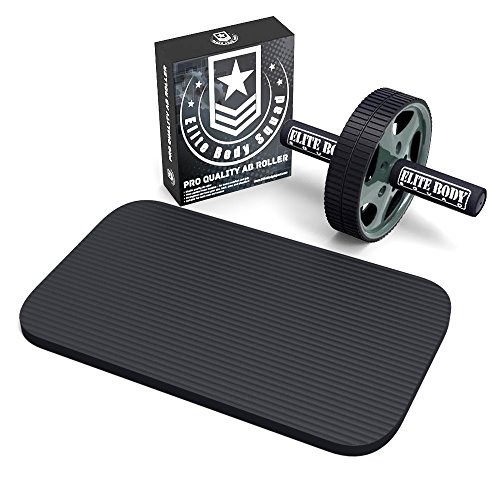 Ab Roller - Pro Quality Ab Wheel With Free Soft Kneeling Mat - Home Gym Exercise Wheel With Thick Foam Handles - Great For Abs Workout And Core Training - Easy Assemble + FREE Weight Loss Plan Ebook