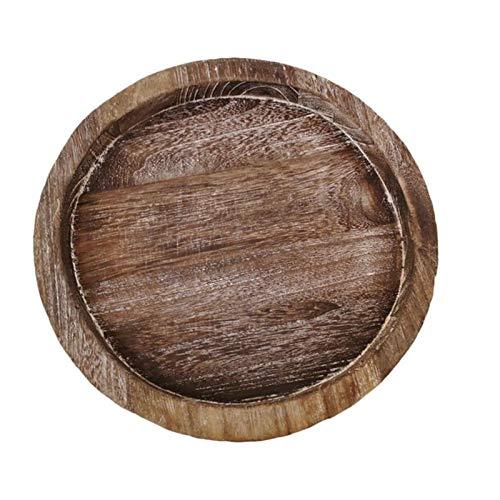 SHUAISHUAI 1pc hem runda ljusbricka trä enkel ljushållare bord dekor ljus brun Vackert bricka (Color : Light Brown)