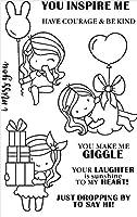 女の子透明クリアシリコンスタンプ/DIYスクラップブッキング用シール/フォトアルバム装飾クリアスタンプシートA1262