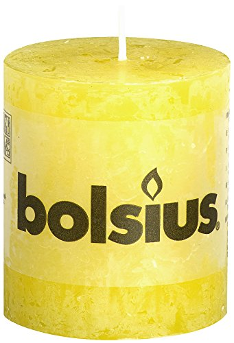 Bolsius Rustic Candle, Parafin Wax, Sunshine Yellow, Short