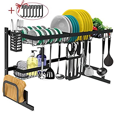 Dish Drying Rack Over the Sink -Adjustable Large Dish Rack Drainer for Kitchen Organization Storage Space Saver Shelf Holder with 7 Utility Hooks Dish Rack Over Sink (32? Sink Size ? 39.5 inch)