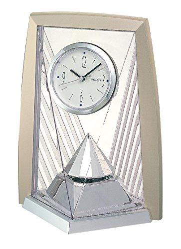 Seiko Tischuhr mit Drehpendel analog Kunststoff Silber QXN206S