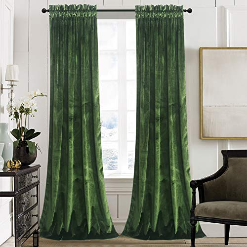 Roslynwood Velvet Curtain Panels Moss Green Room Darkening Window Super Soft Luxury Drapes for Bedroom Thermal Insulated Rod Pocket Curtain for Living Room (2 Panels, 52 by 96 Inch)