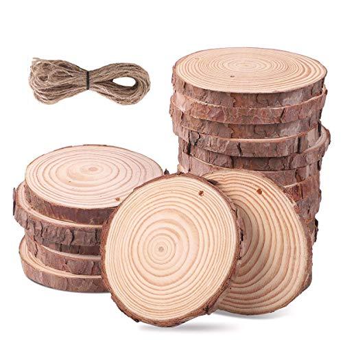 SanGlory Holzscheiben 20 Stücke 9-10CM Holz Log Scheiben mit Loch und 10 Meter Jute Seil Naturholzscheiben Holz Deko Baumscheiben zum Basteln für DIY Handwerk Hochzeit Mittelstücke (20stücke 9-10cm)