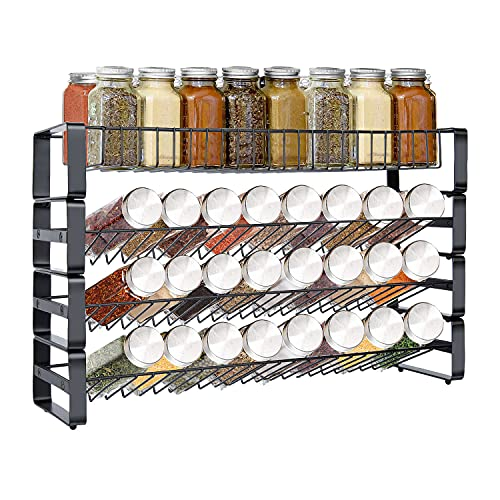 Spice Rack Organizer for Cabinet, 4 Tier Stackable Seasoning Rack Organizer, Detachable Countertop Spice Rack, Freestanding Spice Jar Organizer, Black Frosted Iron Kitchen Counter Shelf