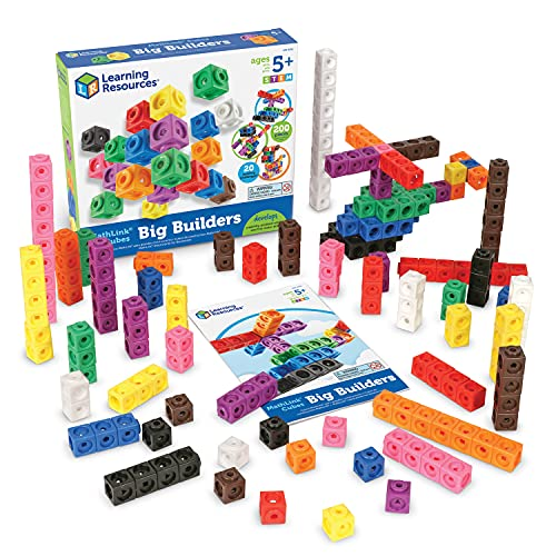 Learning Resources MathLink Cube Big Builders, Imaginative Play, Math Cubes, Early Math Skills, Set of 200 Cubes, Ages 5+