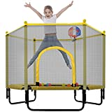 EQian 5FT Trampoline for Kids Boys Girls 60Inch Mini Toddler Trampoline with Enclosure Net Basketball Hoop Indoor Outdoor Toddler Trampoline Birthday Gifts Age 3-12 Yellow