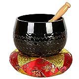 Ouqian Cuenco Tibetano Tazón de Canto Tibetano Set Meditación Yoga Sound Bowl con mazo, cojín de Seda for la meditación de Alivio del estrés Meditación de Sonido Tazón