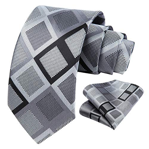 HISDERN Prufen Blumen-Punkt Hochzeitsfeier Krawatte Taschentuch Manner Krawatte & Einstecktuch Set