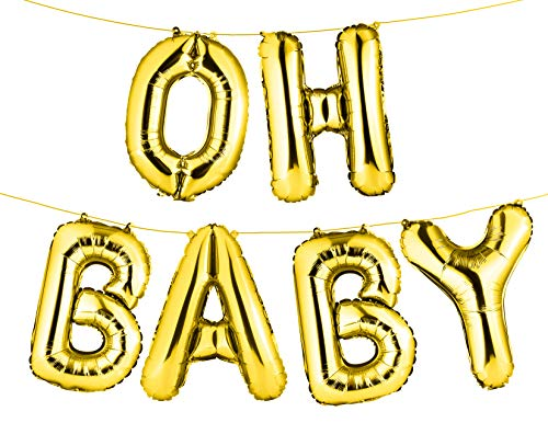 """16"""" Set of Gold """"OH BABY"""" Letters/ Alphabets Foil Balloons 