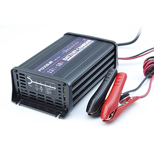 FOXSUR 12V 10A Cargador de batería inteligente de 7 etapas, Gel ácido de plomo Cargador de batería AGM húmedo, Cargador de batería de coche, Cargador de pulso para caja de aluminio (12V 10A)