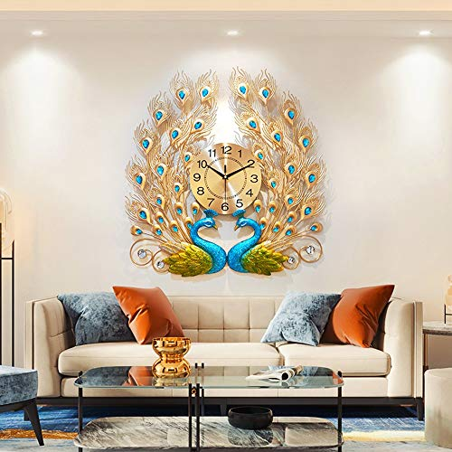 WWFF 63 * 60cm del Pavo Real del Reloj De Pared De La Sala Comedor Dormitorio Casa Moda Artes Creativas Quiet Decoración Personalizada Europea Moderna De Lujo
