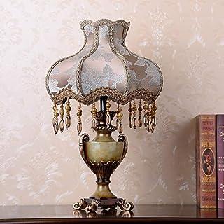 VGGV European Bedside Lamp 13 Inch Handmade Brown Fabric Bedside Lamp Princess Victorian Style Resin Lamp Body Desk Lamp f...
