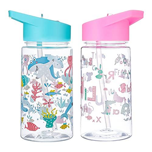 Gaosaili 2 Stücke Trinkflasche Kinder Auslaufsicher, Kinderflasche Kinder Auslaufsichere Water Bottle mit Strohhalm Tragbare Sportflasche für Kinder - 450ml