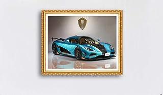 キャンバスアート壁ポスター 青いスポーツカー 海报 绘画 帆布艺术 室内装饰 壁挂 墙壁海报 HD时尚海报