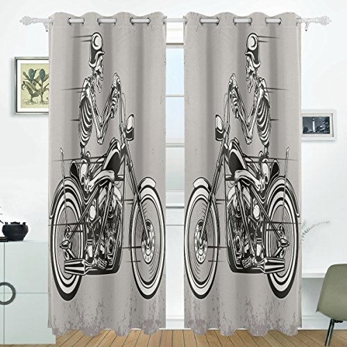 JSTEL Skull Motorrad Vorhänge Panels Verdunklung Blackout Tülle Raumteiler für Terrasse Fenster Glas-Schiebetür Tür 139,7x 213,4cm, Set von 2