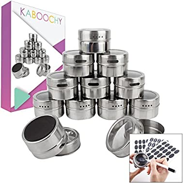 12 Magnetic Spice Tins, 120 Spice Labels plus Chalk Pen. Round Storage Containers with Transparent Clear Sift & Pour Shaker Lid, made with Stainless Steel and Strong Magnet by KABOOCHY