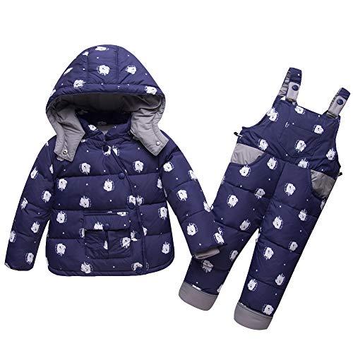 LSERVER Winter 1-3 Jahre Alt Baby Anzug Dicke Warme Kapuze Kinder Daunenjacke, Dunkelblau, 92/98(Fabrikgröße: 100)