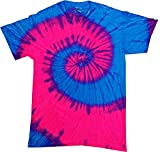 Gildan Tie Dye Flo Blue Pink T-Shirt 100% Cotton Adult Sizes (Small)