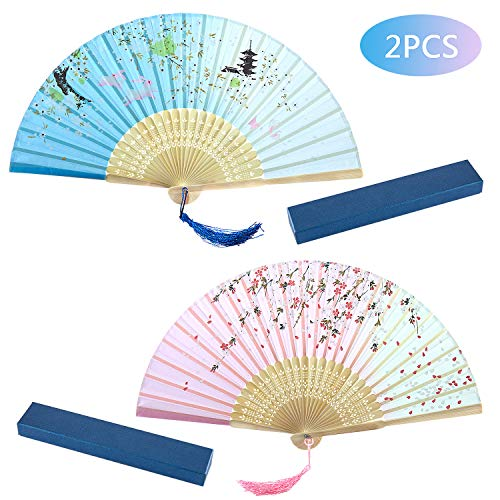 Joeyer Retro Abanico Plegable de Mano con Dibujo Sakura y Mariposas para Verano Boda Regalos, Accesorios de Baile, Decoracion de Pared (Pink and Blue)