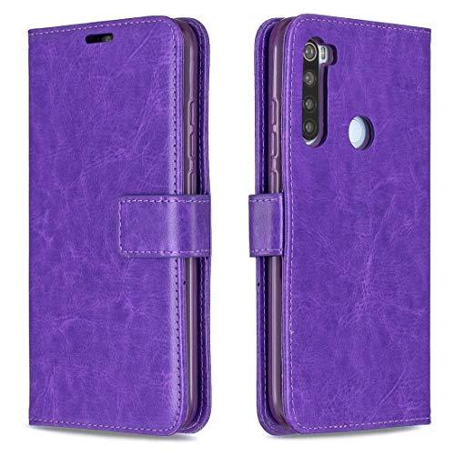 Yukiki For Xiaomi redmi Nota 8 Caballo Loco Textura Horizontal del Cuero del tirón con el sostenedor y Ranuras for Tarjetas y Monedero y Marco de Fotos (Negro) (Color : Purple)